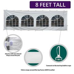 8' x 40' High Peak Frame Party & Canopy Tent Premium Blockout Cathedral Sidewall