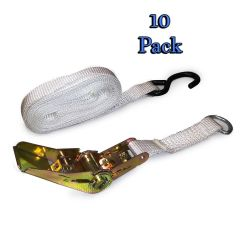 "1"" x 13' S-Hook White Ratchet Strap Tent Tie Down - 10 Pack"