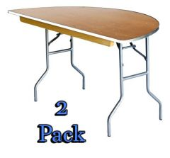 "60"" Half Round Wood Table - 2 Pack"