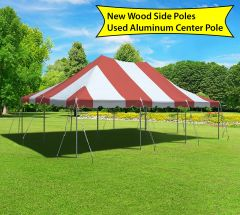 20' x 30' Canopy Pole Party Tent - Red and White, Wood/Aluminum Poles