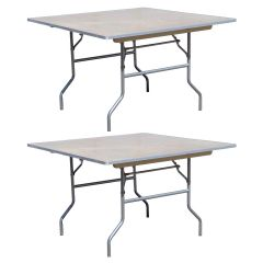 """30"""" Square Wood Folding Table, 2 Pack"""