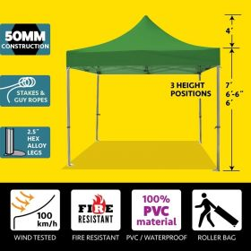 10' x 10' 50mm Speedy Pop-up Party Tent - Green