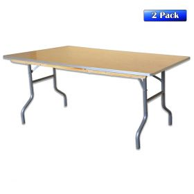 "48"" Rectangle Wood Folding Banquet Table - 2 Pack"