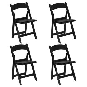 Black Resin Folding Chairs - 4 Pack