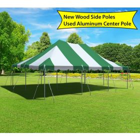 20' x 30' Canopy Pole Party Tent - Green and White, Wood/Aluminum Poles