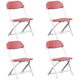 Kids Red Poly Folding Chair - 4 Pack