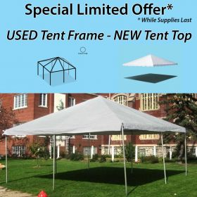 20' x 20' West Coast Frame Party Tent - White, Used Frame / New Top