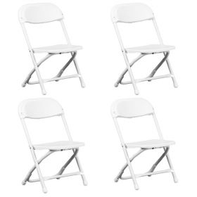 Kids White Poly Folding Chair - 4 Pack