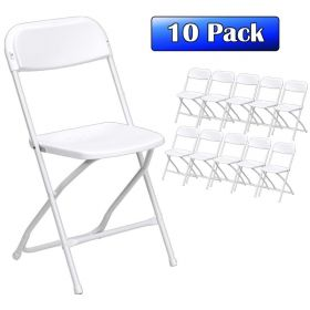 Plastic Folding Chairs White - 10 Pack