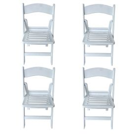 Slatted White Resin Folding Chairs - 4 Pack