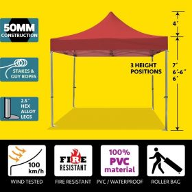 10' x 10' 50mm Speedy Pop-up Party Tent - Red