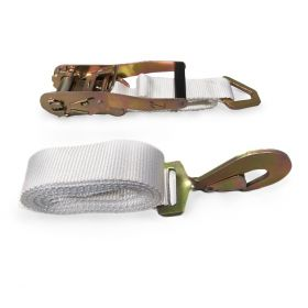 """2"""" x 13' Ratchet Strap - White Tent Tie Down with S-Hook"""