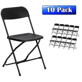 Plastic Folding Chairs Black - 10 Pack