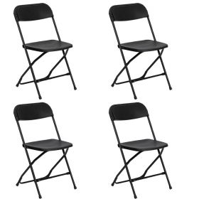 Plastic Folding Chairs Black - 4 Pack
