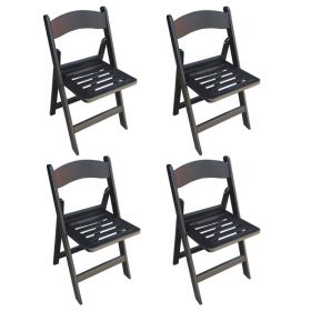 Slatted Black Resin Folding Chairs - 4 Pack