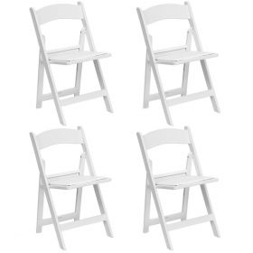 White Resin Folding Chairs - 4 Pack