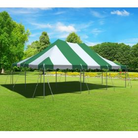 USED 20' x 30' Premium Canopy Pole Party Tent - Green and White