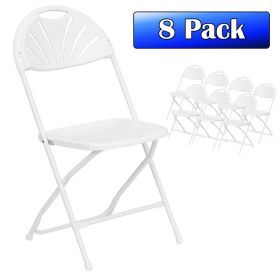 White Fan Back Folding Chairs - 8 Pack