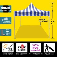 10' x 10' 50mm Speedy Pop-up Party Tent - Blue and White