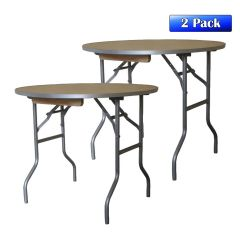 "36"" Round Wood Folding Table - 2 pack"