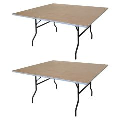 "48"" Square Wood Folding Table, 2 pack"