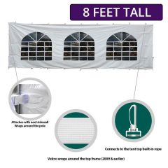 8' x 30' High Peak Frame Party & Canopy Tent Premium Blockout Cathedral Sidewall