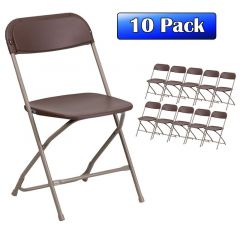 Plastic Folding Chairs Brown - 10 Pack