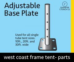 """1' Adjustable Base Plate Foot for 2"""" OD Aluminum Pipe"""