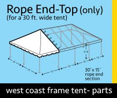 30' x 15' Rope End Extender West Coast Frame Tent Top Only
