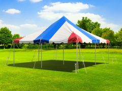 20' x 20' Premium Canopy Pole Party Tent - Red, White and Blue