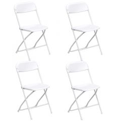 White Plastic Folding Chairs - 4 Pack