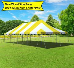 20' x 40' Canopy Pole Party Tent - Yellow and White, Wood/Aluminum Poles