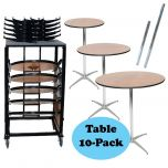 "10-Pack of 30"" Bistro / Cocktail Tables and Heavy Duty Steel Moving Cart Bundle"