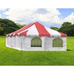 20' x 40' Weekender Standard Pole Tent with Sidewalls - Red