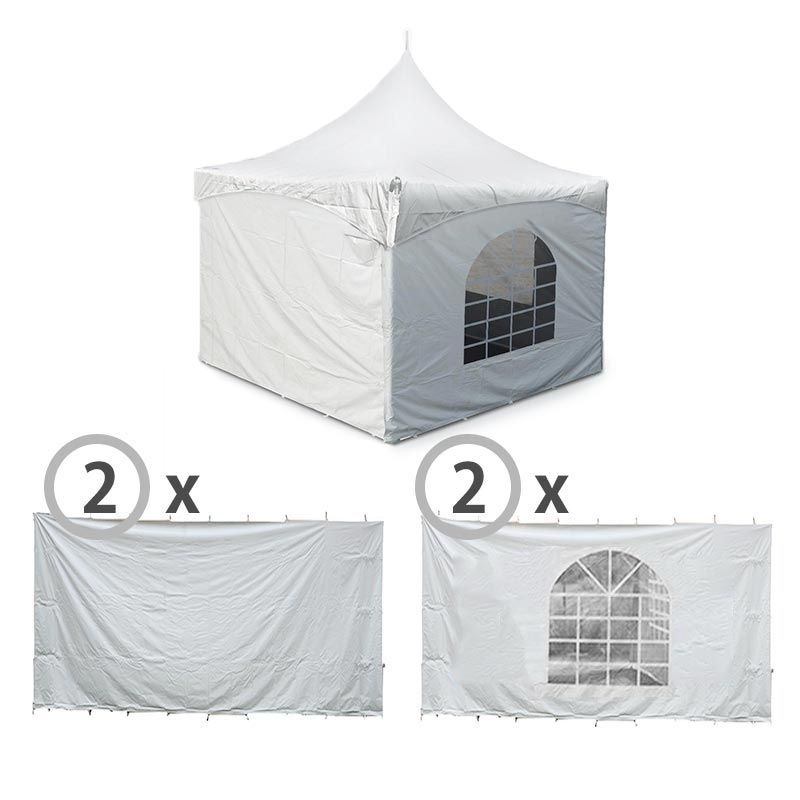 10' x 10' High Peak Frame Sidewall Kit with 8' Walls, Velcro, and Clip  Connections